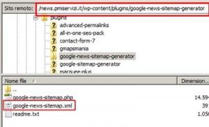 Posizione del file google-news-sitemap.xml una volta installato il plug-in