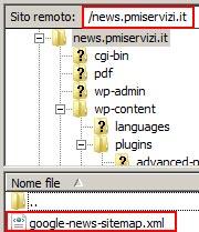 Posizione finale del file google-news-sitemap.xml dopo lo spostamento