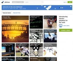 Home page del nuovo delicious
