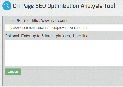 on-page SEO Optimization analysis tool