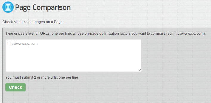 page comparison tool seochat