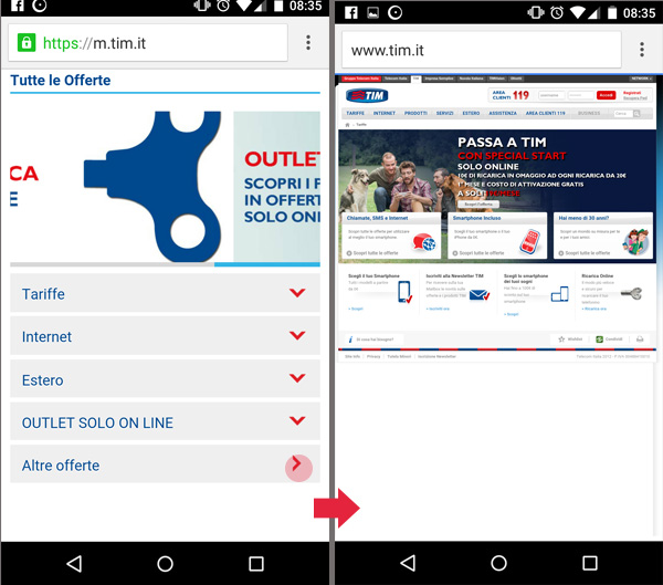 reindirizzamento da mobile a desktop