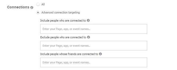 facebook ads connessioni pubblico
