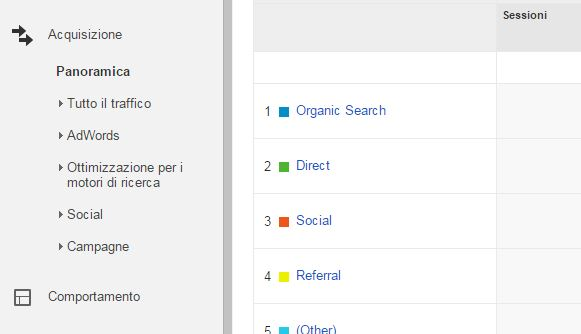 google analytics organico