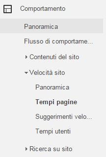 google analytics tempi pagine